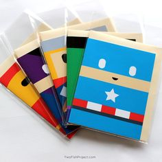 Kids Superhero Birthday Cards! Set of 5 Marvel Avengers (Captain America, Thor, Hulk, Ironman, Hawkeye), Blank Greeting Card Set. Handmade cards that are perfect for thank you, congratulations, thinking of you, etc.