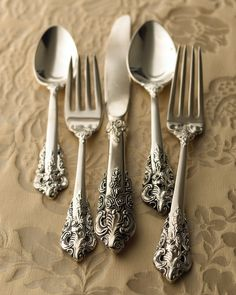 """92-Piece """"20th-Century Baroque"""" Silver-Plated Flatware at Neiman Marcus."""