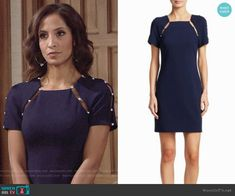Lily's navy pearl inset dress on The Young and the Restless. Outfit Details: https://wornontv.net/93041/ #TheYoungandtheRestless