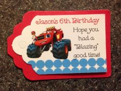~~ 18Count Blaze and the Monster Machines Party Tags/FREE SHIPPING!!!!