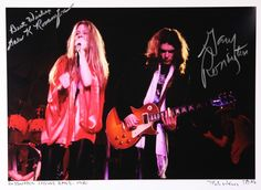 ~Gary Rossington and Allen Collins were the 2 surviving members of Lynyrd Skynyrd after the plane crash in 1977 where 3 members of the band died. Description from charitybuzz.com. I searched for this on bing.com/images