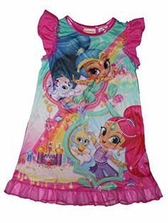 37e575aabf3b Amazon.com  Nickelodeon Shimmer and Shine Girls Nightgown 4-16 (L 10 12)   Clothing