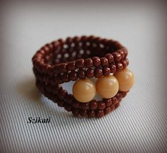 Beaded beige brown ring seed bead ring unique jewelry by Szikati, $15.00