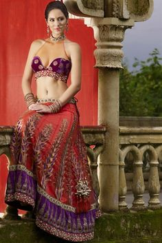 Love the top! My mom might kill me though. lehenga & chaniya choli with vintage style embroidery Indian Wedding Gowns, Indian Bridal Lehenga, Indian Beauty Saree, Indian Dresses, Indian Outfits, Indian Clothes, Indian Actress Photos, Indian Bollywood Actress, Bollywood Fashion