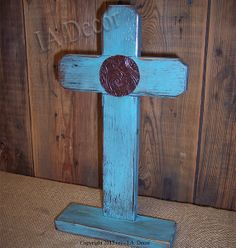 Free Standing Cross - Wood Turquoise Cross - Table top cross - standing cross - Light Blue Distressed on Etsy, $24.95