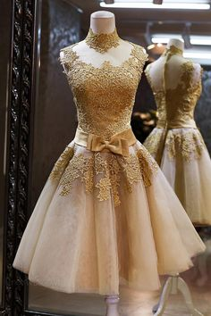 lace prom dresses gold prom dresses short prom dress by okbridal Mode Vintage, Vintage Lace, Vintage Dresses, Vintage Outfits, Vintage Fashion, Vintage Prom, Vintage Style, Vintage Inspired, Gold Prom Dresses