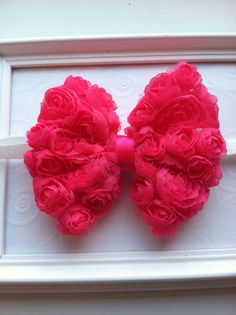 Hot Pink Shabby Chiffon Bow attached to White by CCsChicBowtique, $8.00