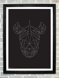 Rhino head triangles print 11 X 16. $19.99, via Etsy.
