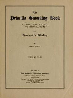 The Priscilla smocking book by Louise Flynn - readable online