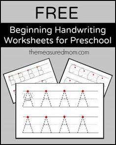 Free beginning handwriting worksheets for preschool! - The Measured Mom