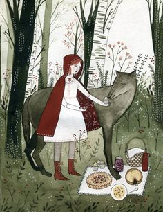 Fairytales:  Little Red Riding Hood and the wolf.
