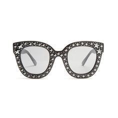 Gucci Oversized embellished acetate sunglasses ($840) ❤ liked on Polyvore featuring accessories, eyewear, sunglasses, black, oversized glasses, embellished sunglasses, oversized eyewear, over sized sunglasses and gucci