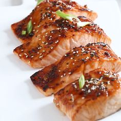 Sweet and Sour Salmon. Broiled salmon filets brushed with a quick and easy sweet and sour sauce! Sweet and Sour Salmon - Salmon Dishes, Fish Dishes, Seafood Dishes, Salmon Meals, Baked Salmon Recipes, Fish Recipes, Chicken Recipes, Shrimp Recipes, Cake Recipes