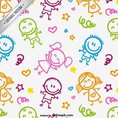Patrón de niños dibujados Vector Gratis