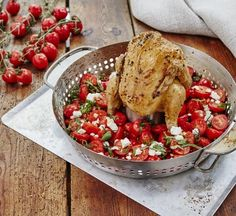 Thanks to the GBS® Poultry Roaster, you can make your infused whole chicken and tomato salsa together