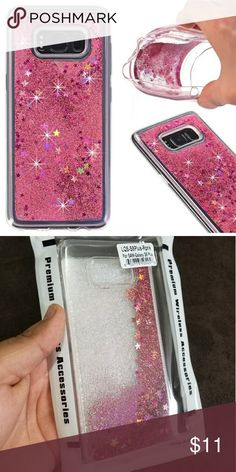 Samsung Galaxy S8/ S8 Plus pink glitter case Pink waterfall glitter case with soft silicone edges Accessories Phone Cases
