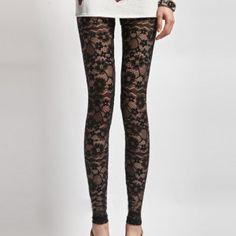 Sexy Black Flowers Lace Print Leggings