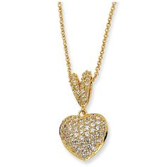 Gold-plated Sterling Silver CZ Heart 17.5in Necklace - Save 25% thru 2/14/13
