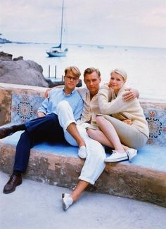 Matt Damon, Jude Law, and Gwyneth Paltrow on the set of The Talented Mr. Ripley