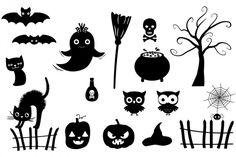 Halloween silhouettes clipart, Black silhouettes set By Pravokrugulnik