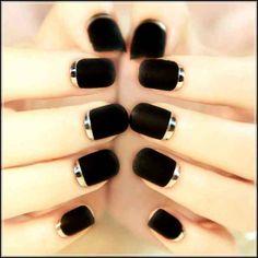 Matte Black Nails Design #nails #polish