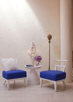 Tracie Martyn Salon Interior. Loving the Crystal Wall Treatment.