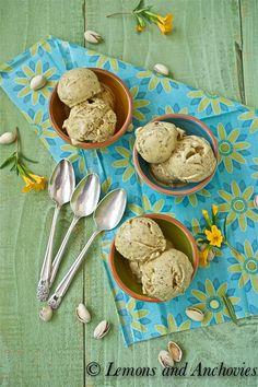 Pistachio Gelato by Loang Loang Frozen Desserts, Frozen Treats, Just Desserts, Dessert Recipes, Pistachio Gelato, Pistachio Recipes, Coconut Sorbet, Rasberry Sorbet, Gelato Recipe