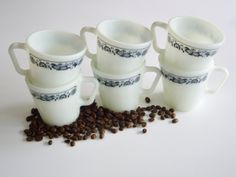 Vintage Pyrex Mugs  Old Town Blue Pattern  Set of 6 by Vintagerous, etsy