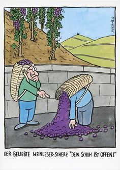 """Lustige Postkarte Cartoon von Perscheid – Der beliebte Weinleser-Scherz """"Dein Schuh ist offen!"""" Postkarten Cartoon"""