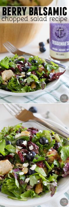 Sweet, tart and salty, this Berry Balsamic Chopped Salad Recipe with Grilled Chicken is perfect for a light dinner or lunch, or great as a side dish.