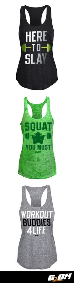 Tanks that speaks for you when you're out of breath from crushing your workout.  At G2OH you'll find an extensive collection of workout gear for crossfitters, weightlifters, runners and athletes wanting to get the most out of every work out. Made with premium materials, you'll find our apparel is comfortable, flexes and moves with no restrictions, retains shape, and dries quickly. See what all the fuss is about - shop the G2OH collection today!