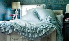 Rachel Ashwell Shabby Chic Couture Furniture & Accessories: The Prairie by Rachel Ashwell. Details: Petticoat duvet and euro pillowcases in overdye teal shade. ~ Houzz