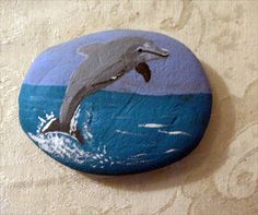 Jumping Dolphin ~  Hand Painted Rock. Perfect Gift for the Dolphin Lover!