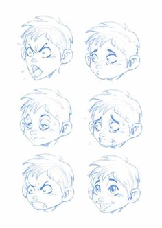 Cartoon Drawing Techniques How to Draw Cartoon Faces, Facial Expressions and Emotions - I will start this lecture giving you a basic introduction on how to draw a simple cartoon face. Next, I will teach you how to create facial expressions. Cartoon Eyes, Drawing Cartoon Characters, Character Drawing, Drawing Cartoons, How To Draw Cartoons, Animation Character, Character Sketches, Character Illustration, Boy Cartoon Drawing