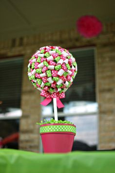 Ribbon topiary for a little girl birthday party! Tutorial found on Kara's Party Ideas karaspartyideas.com look @Kristin another ribbon craft!!