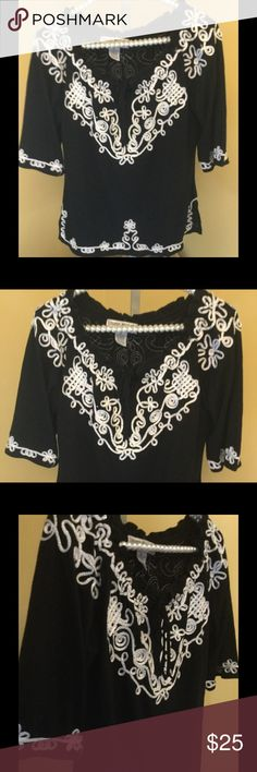 """Black & Sliver Embroidered Blouse Black & Sliver Embroidered Blouse Con-A-KM236-B1  Beautiful blouse with embroidery! """"Freshly laundered.""""                              ♡GOD BLESS♡                    ☆BUNDLE AND SAVE 5%☆              ♡ASK I WILL REPLY PROMPTLY♡       ☆SHARE & FOLLOW I WILL DO THE SAME☆    ☆REASONABLE OFFER'S ALWAYS WELCOMED☆ Lauren Michelle Tops Blouses"""
