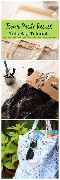 flour paste resist tote bag #tutorial