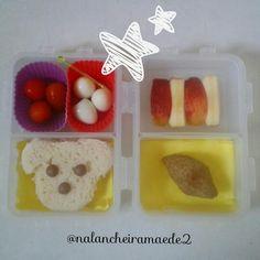 Lanche: sanduiche+ovinhos+tomatinhos  Quibe assado+maçã