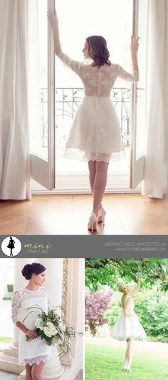 Wedding Dress Silhouttes: Mini | SouthBound Bride | http://southboundbride.com/a-southbound-guide-to-wedding-dress-silhouettes | Credit: Short Wedding Dress with Long Sleeves by Alesandra Paris (top) | Lace Wedding Dress by Iselle Bridal Studio (bottom left) | Poppy Backless Short Silk Wedding Dress by French Knot Couture (bottom right)
