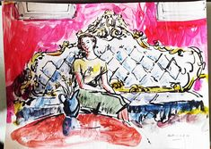Reclining Nude Sporting Peter Collins Arca C.1970s Pen And Ink Drawing