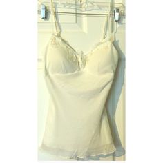 """XXI Ivory Silk Lace Camisole Top Sequins Beads 100% silk, padded bust, adjustable straps, lined inside, 14.5"""" long in back.   TT Forever 21 Tops Camisoles"""