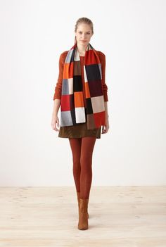 #CountryRoad // Full #Cardigan #Knit $99.00 //  Patchwork #Scarf $99.00  // Jumbo Cord #Skirt $99.00 //  Fine Rib #Tights $24.95  // Totti Ankle #Boot $229.00