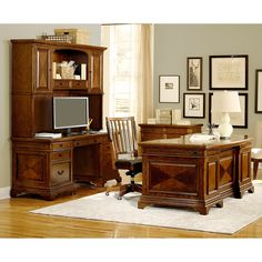 Emery Park Ethan 66-inch Curved Executive Desk Credenza and Hutch with Office Chair