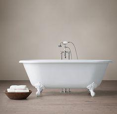 Vintage Imperial Clawfoot Tub With Cross Handle Floor Mount Tub Fill    White Feet. Clawfoot TubsRestoration HardwareCatalogBathroomsHandleVintage