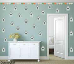 FREE SHIPPING Wall Decal Bird Hous & Hearts Pastel by Osnatdecal