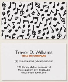 Contemporary music business cards featuring a black and white, somewhat whimsical musical note pattern on the front. On the back are template fields for name, title or company and contact information. The design is modern. Ideal for a musician, music blogger, music teacher, conductor or someone offering singing lessons or vocal training for singers (vocal coach).