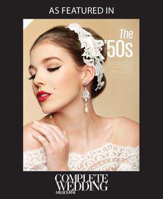 The '50s by #GlamInPink #glamorous #feminine #redlipstick #wingedliner headpiece by Empireroom www.empireroom.com.au