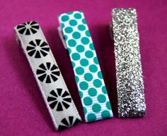 Girls Alligator Clips - Retro Flowers, Teal Polka Dots, and Glitzy Silver