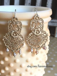Lace Drop Earrings - Gold with Freshwater Pearls