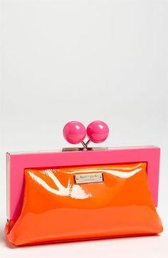 Kate Spade orange and purple purse! Kate Spade Clutch, Kate Spade Handbags, Rose Fushia, Orange Pink, Yellow, Orange Purse, Purple Purse, Magenta, Coral